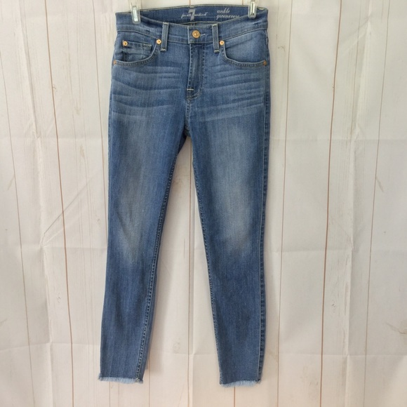 7 For All Mankind Denim - 7 For All Mankind Guinevere Raw Hem Ankle Skinny